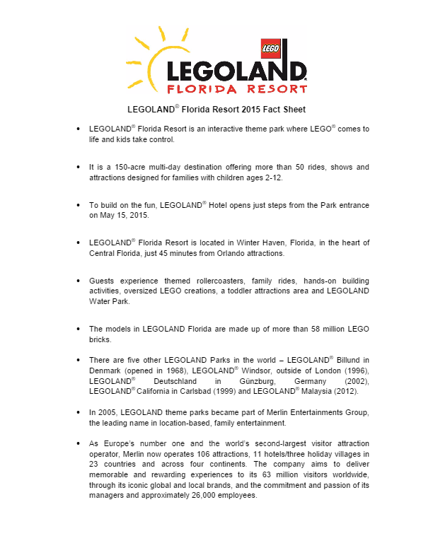 2015 LEGOLAND Florida Fact Sheet
