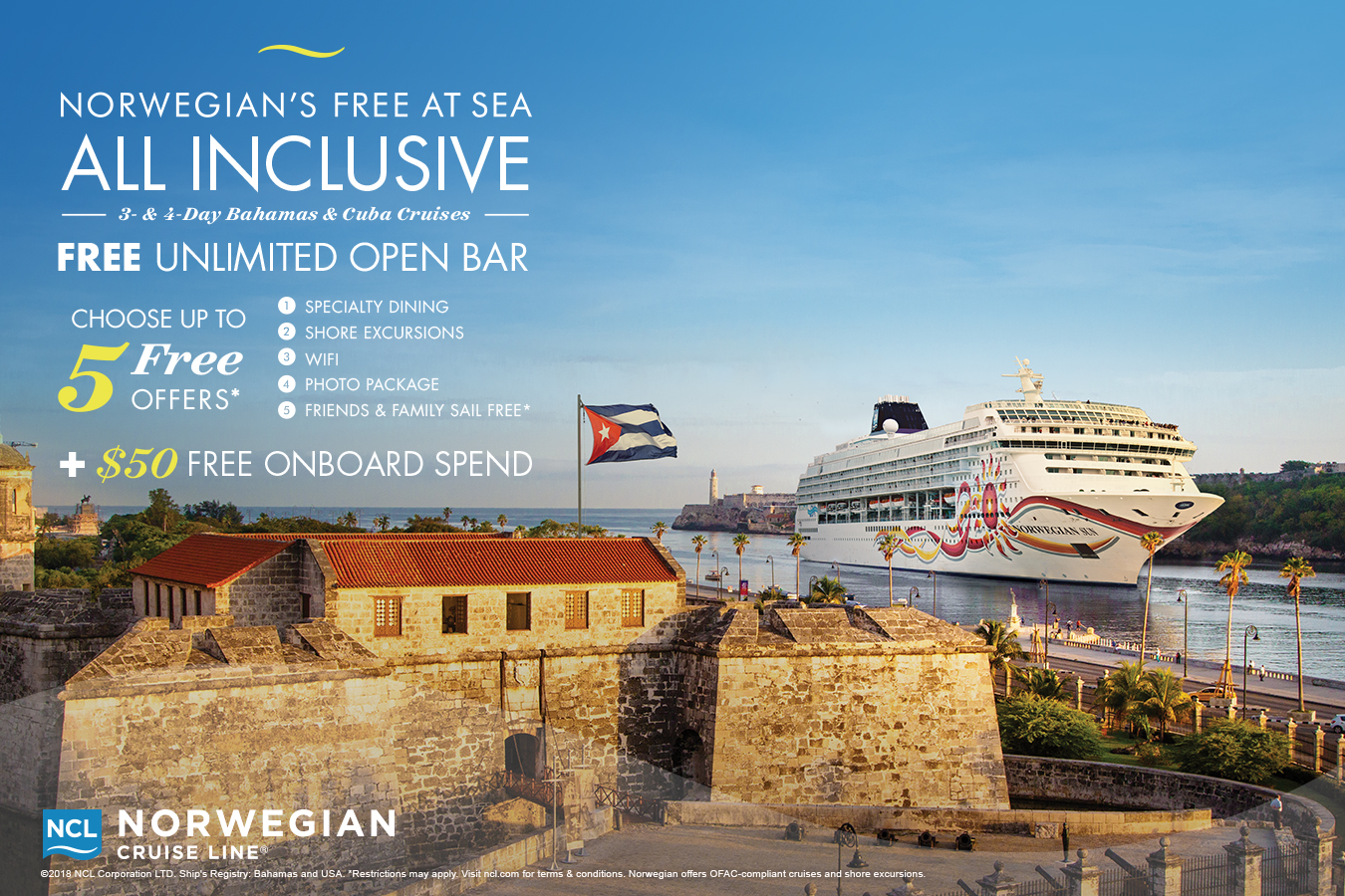 Norwegian Cruise Line – Free At Sea All Inclusive Promo