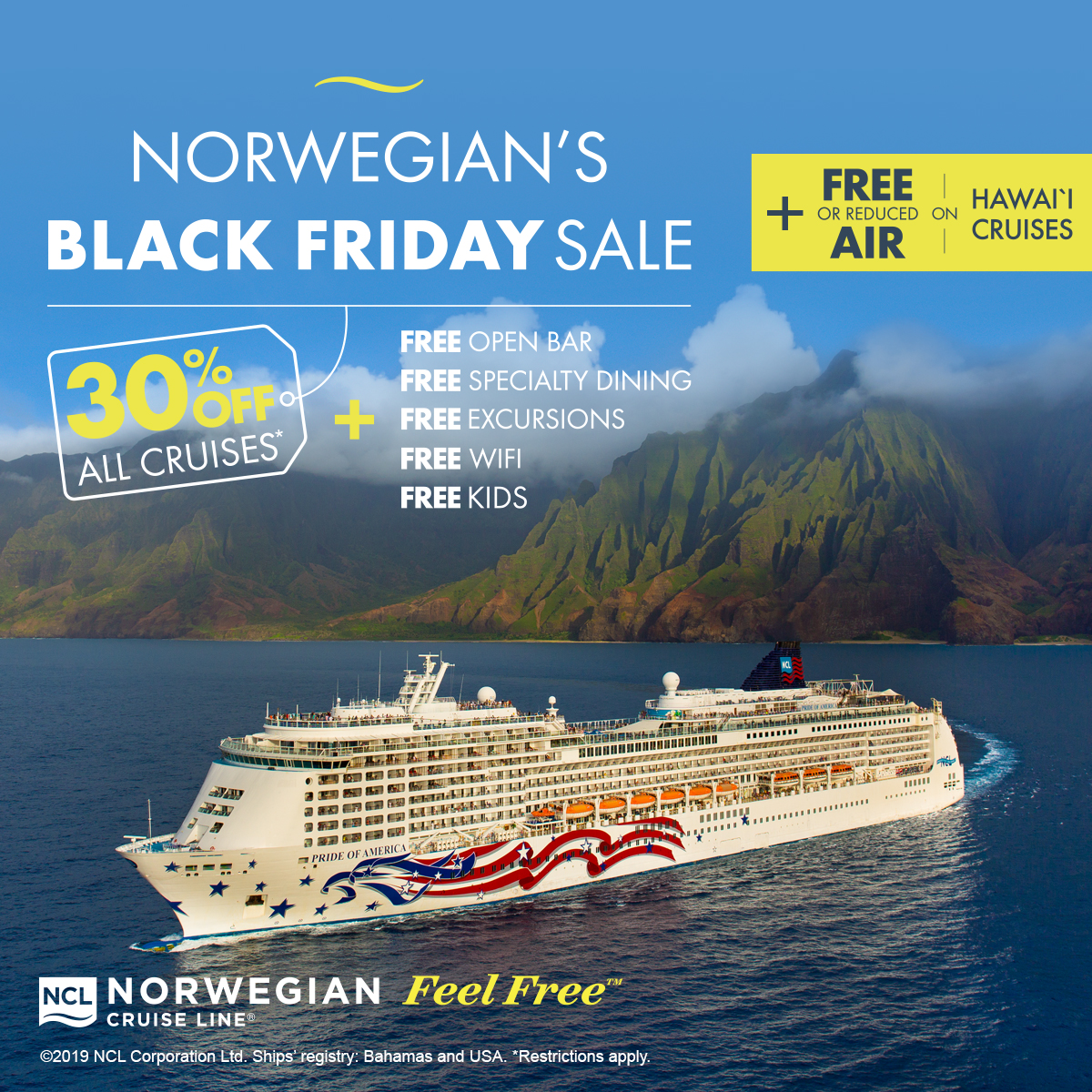 Norwegian Cruise Lines FREE AT SEA Black Friday Hawaii Sale!