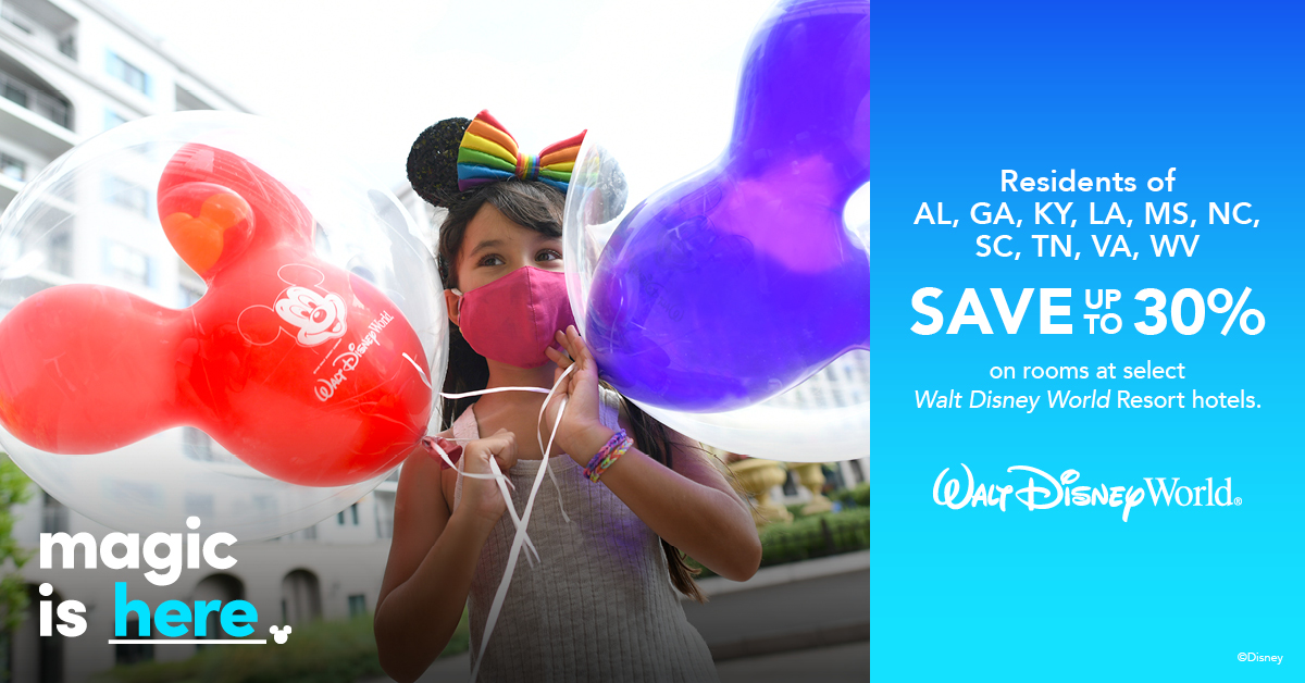 Residents of AL, GA, KY, LA, MS, NC, SC, TN, VA, WV Save Up To 30% On Select Walt Disney World Rooms!
