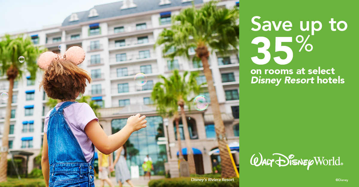 Now at The Walt Disney World Resort You Can Save Up to 35% on Rooms at Select Hotels in Early 2021 !