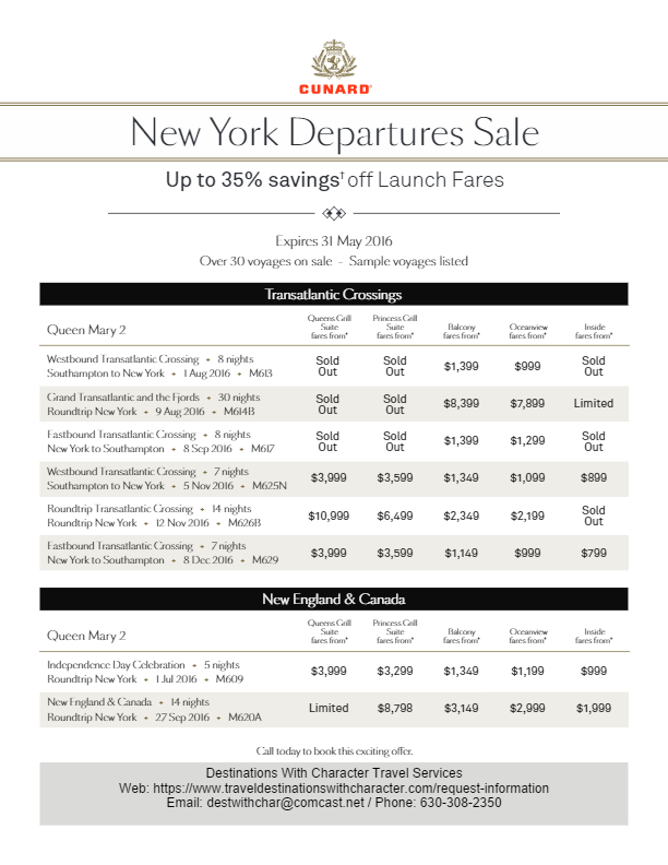 Cunard End of May 2016 Sale