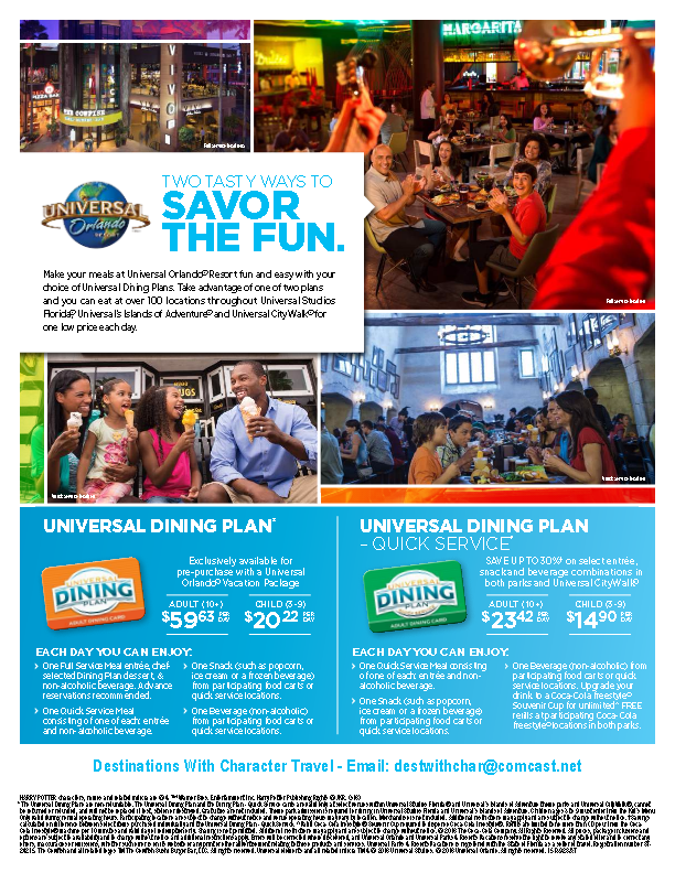 Universal Orlando featuring the Universal Dining Plan.compressed