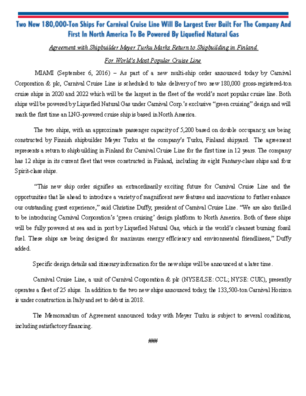 CArnival New Ship Agreement