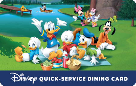 NEW DISNEY QUICK-SERVICE DINE GIFT CARD AVAILABLE WITH SELECT WALT DISNEY TRAVEL COMPANY PACKAGES
