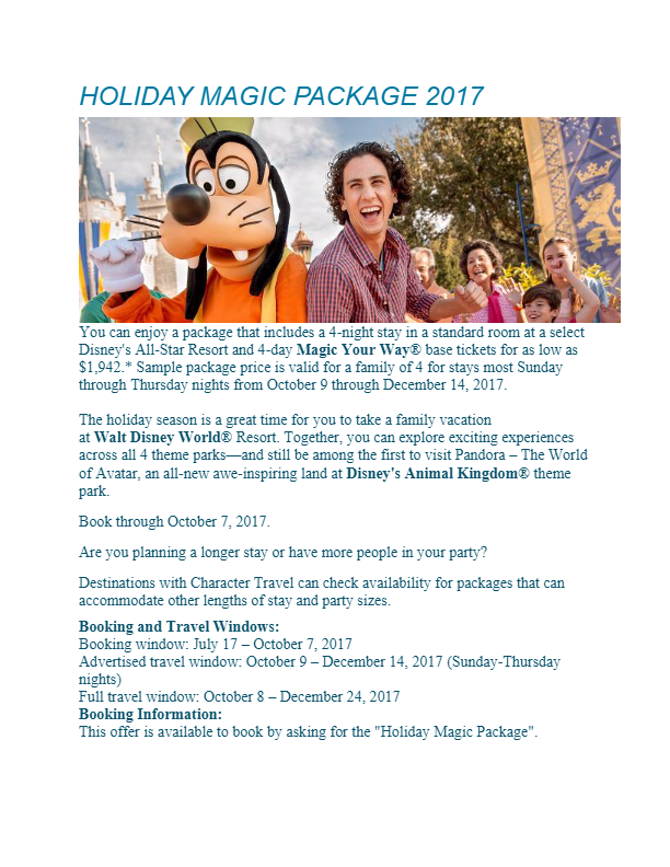 WDW Holiday Magic 2017 Package
