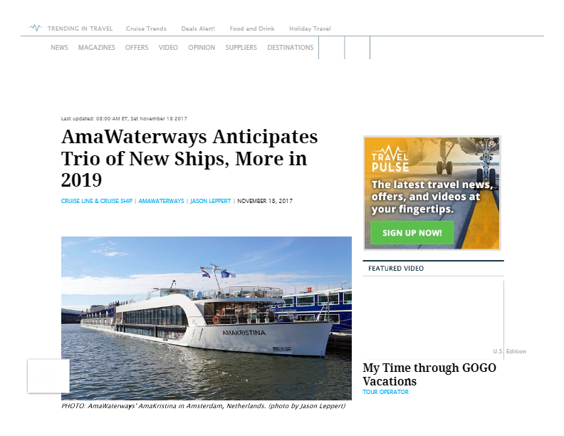 AmaWaterways Anticipates Trio of New Ships, More in 2019 _ TravelPulse