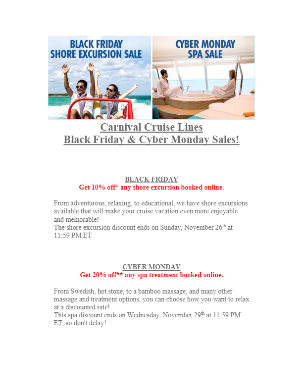 Carnival Cruise Lines Black Friday and Cyber Monday