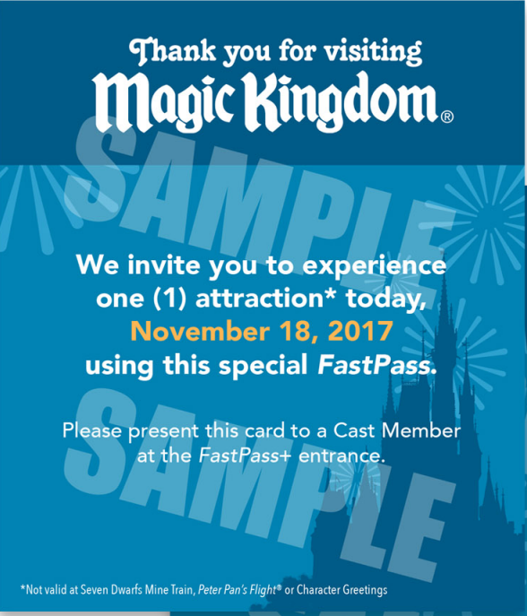 """Surprise FastPass"" Given to Magic Kingdom Guests on Select Nights"