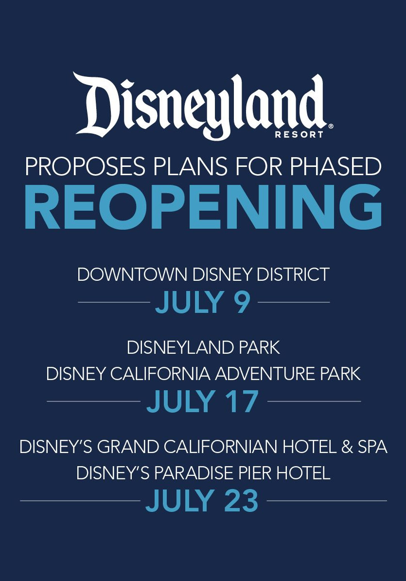 Disneyland Resort and Disney's California Adventure Park Announce Proposed Reopening Plans Pending Government Approval