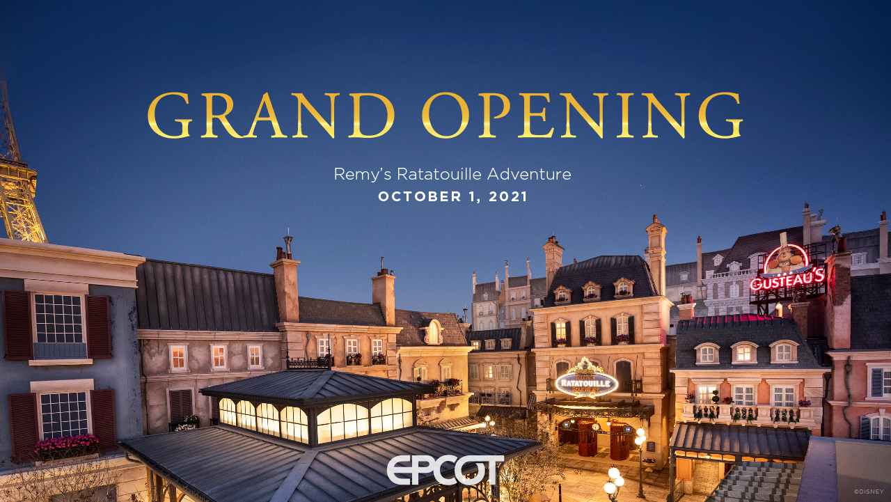 Remy's Ratatouille Adventure Grand Opening at EPCOT Set for Oct. 1, 2021, in Honor of Walt Disney World Resort's 50th Anniversary